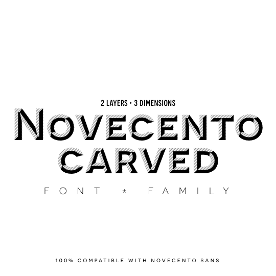 Novecento Carved font family. Two layers, endless possibilities